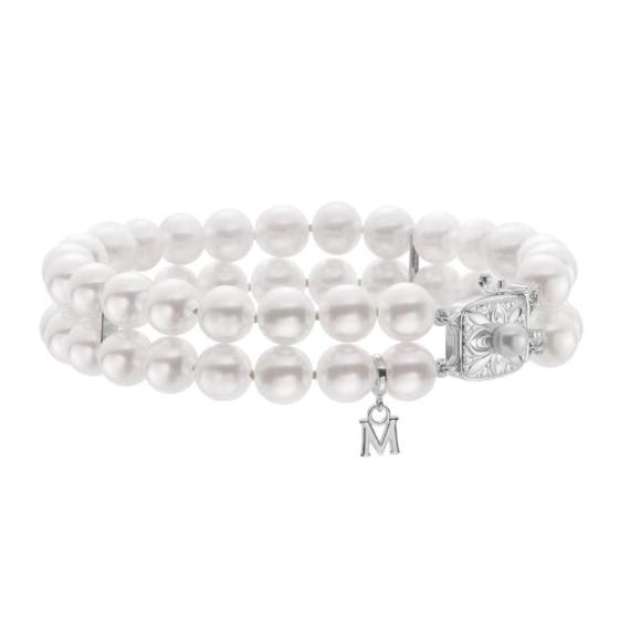 Double Strand Akoya Cultured Pearl Bracelet- 18K White Gold
