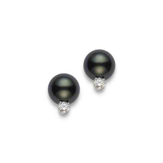 Black South Sea Stud Earrings with Diamonds – 18K White Gold