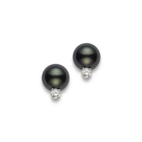 18k White Gold 8-9mm Black South Sea Pearl and Diamond Studs