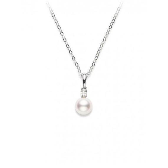 18k White Gold Akoya Cultured Pearl and Diamond Pendant