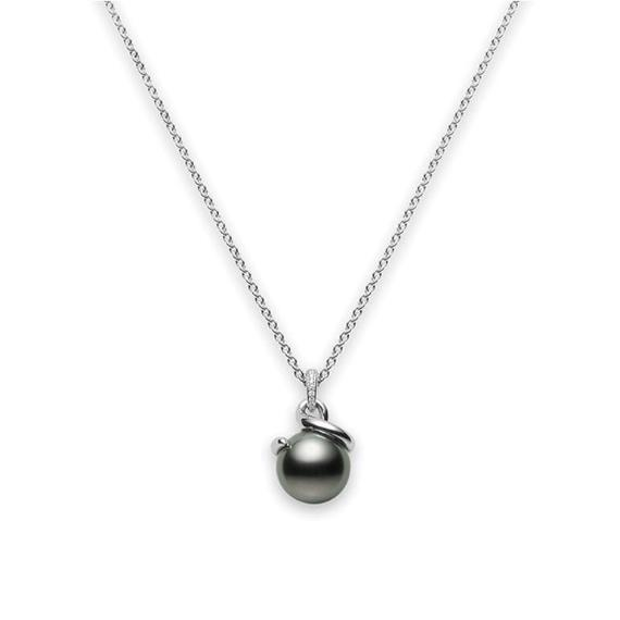 18k White Gold Black South Sea Cultured Pearl and Diamond Twist Pendant - Alvin Goldfarb