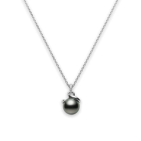 18k White Gold Black South Sea Cultured Pearl and Diamond Twist Pendant