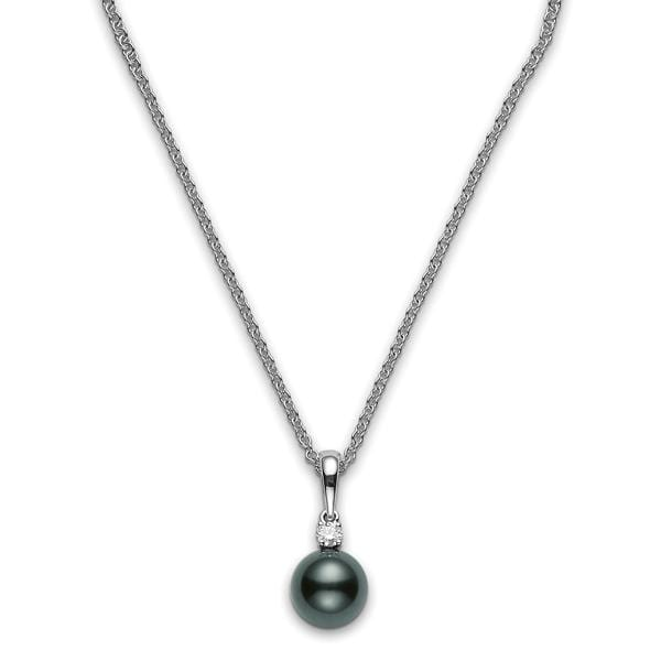 18K WHITE BLACK SOUTH SEA CULTURED PEARL AND DIAMOND PENDANT