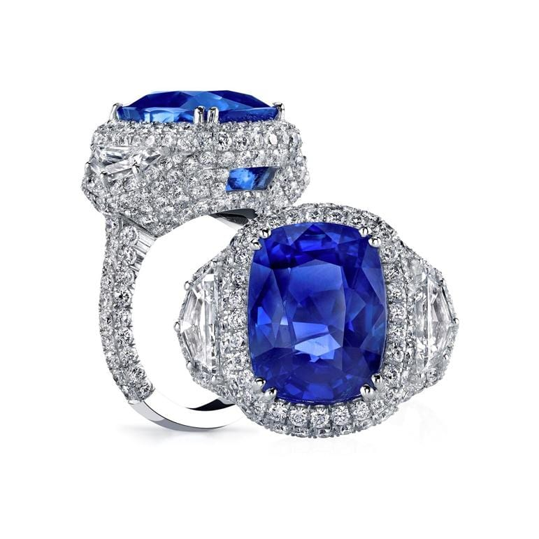 Platinum Blue Sapphire Ring with fancy shapes and pave diamonds