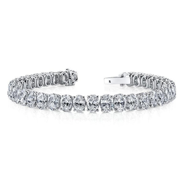 Platinum Oval Diamond Tennis Bracelet
