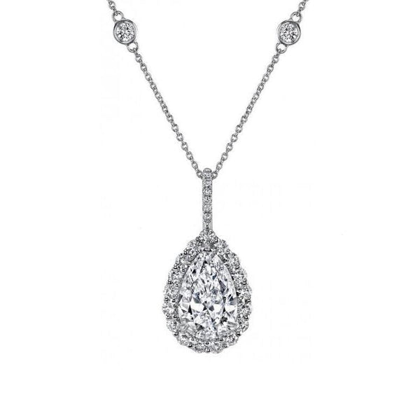 Platinum Pear Shape Diamond Pendant with Halo Surround