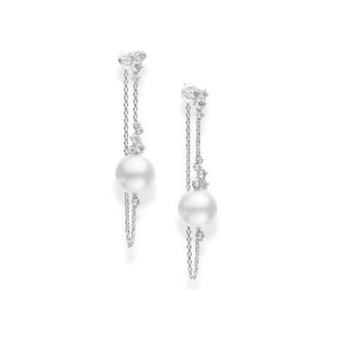 White Cultured South Sea Pearl and Diamond Earring