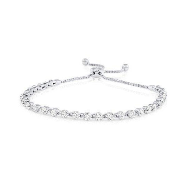 White Gold Single Row Diamond Bolo Bracelet