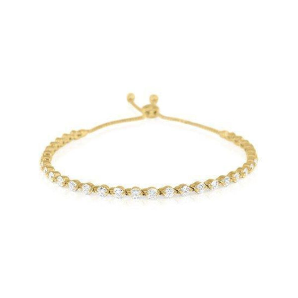 Yellow Gold Single Strand Diamond Bolo Bracelet