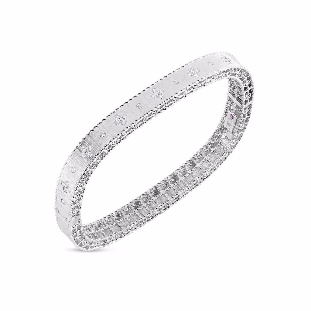 Roberto Coin Princess White Gold Diamond Bangle Bracelet