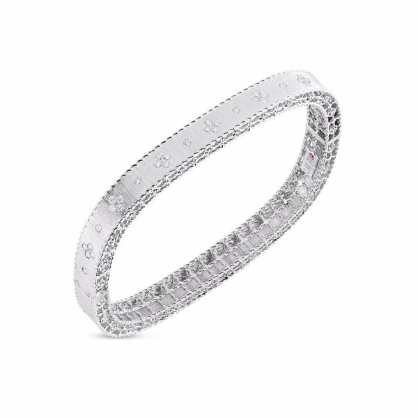 Roberto Coin Princess White Gold Diamond Bangle Bracelet - Alvin Goldfarb