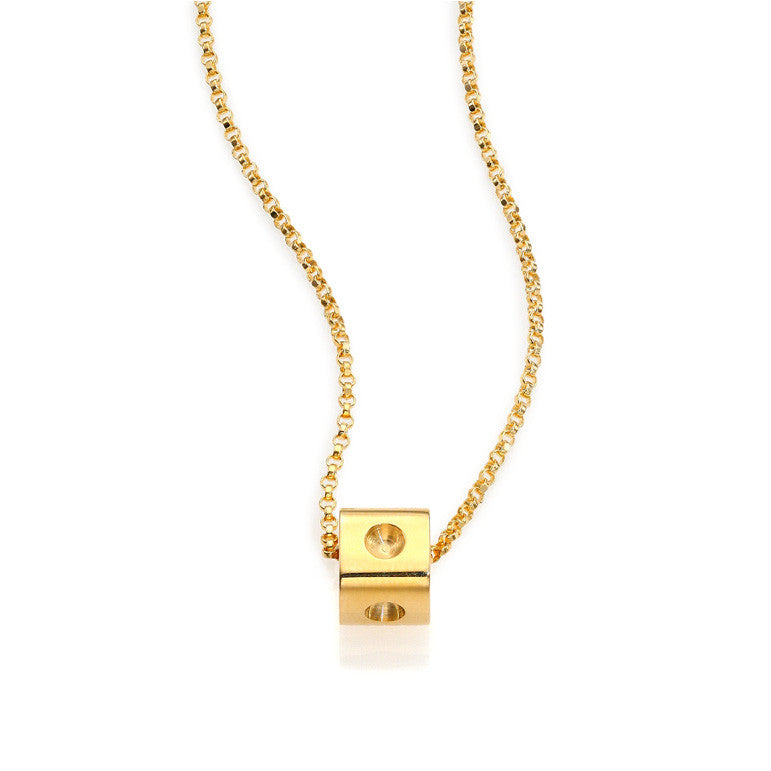 18k Yellow Gold Pois Moi Cube Necklace