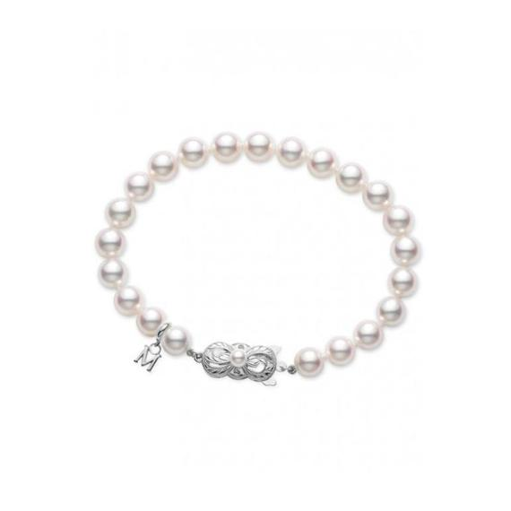 18k White Gold Akoya Cultured Pearl Bracelet