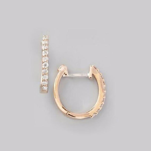 Rose Gold Perfect Diamond Hoop Earring - Alvin Goldfarb