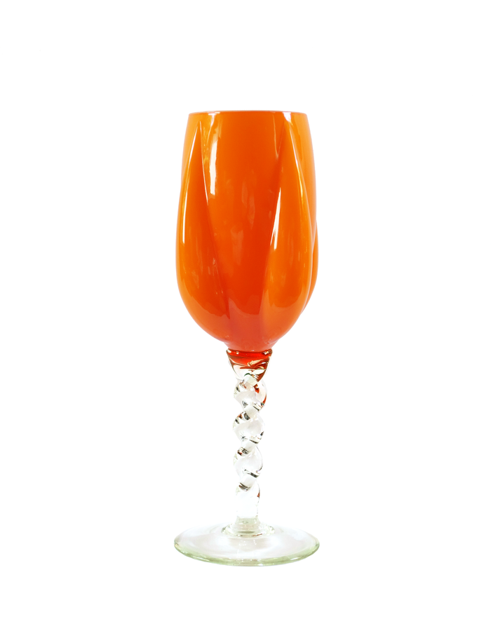 Empoli Orange Tall Twist Stemmed Goblet