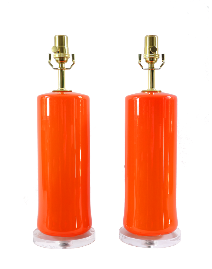 Pair of Empoli orange cased glass cylindrical lamps