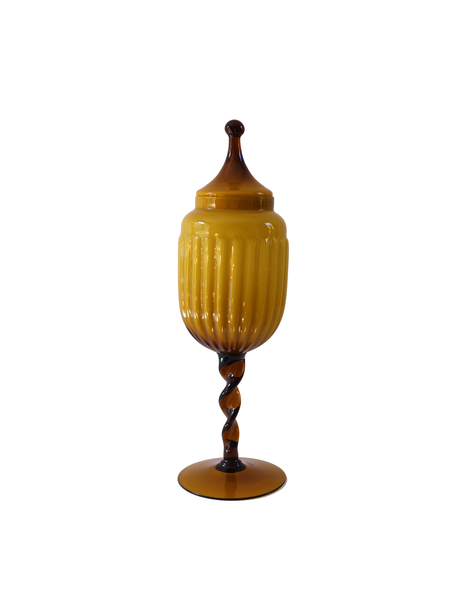 Empoli Amber Apothecary Caged Urn Lidded Jar