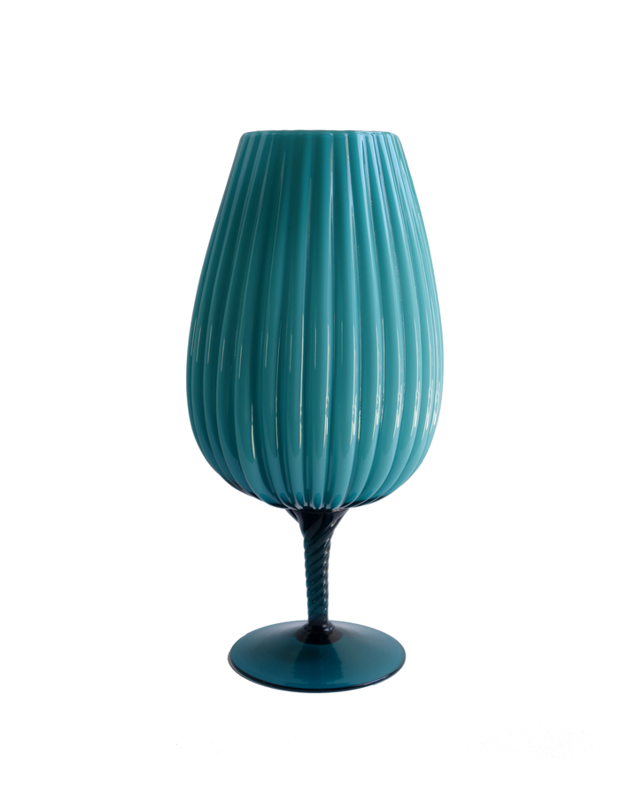 Teal Ribbed Brandy Balloon