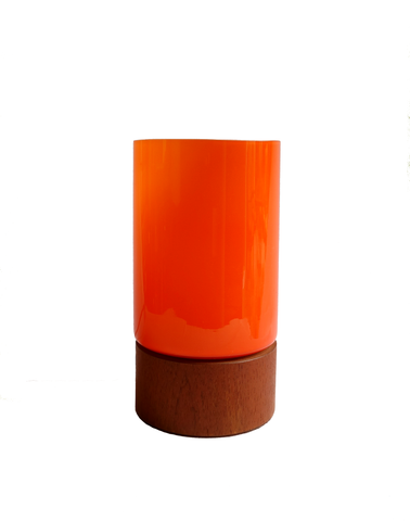 Danish Cased Orange Table Lamp with Teak Base