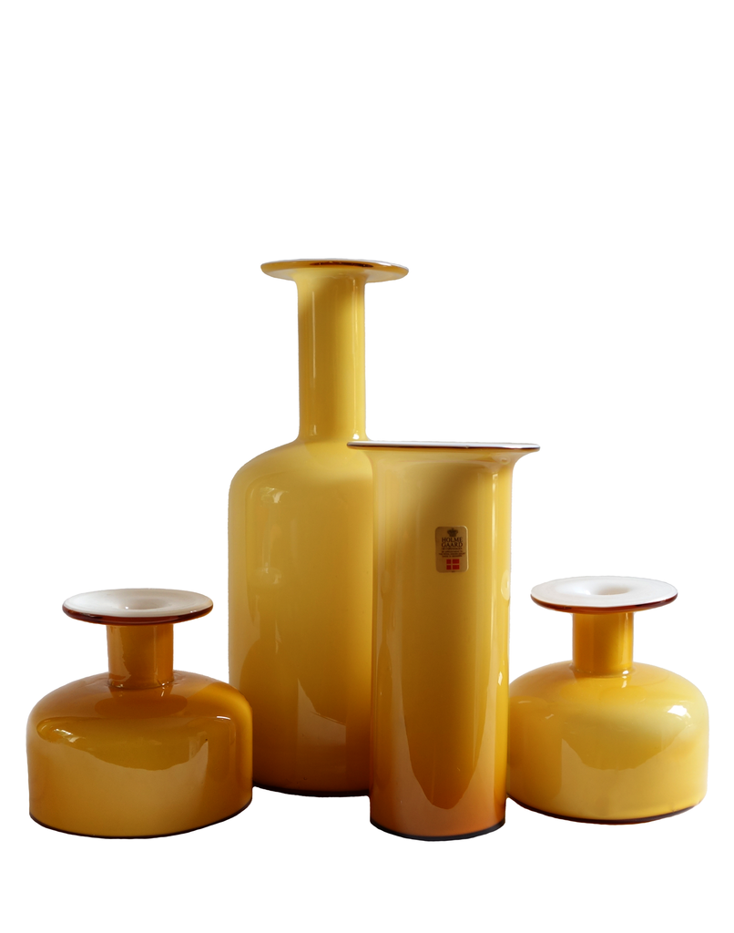Collection of Holmegaard Vases in Amber