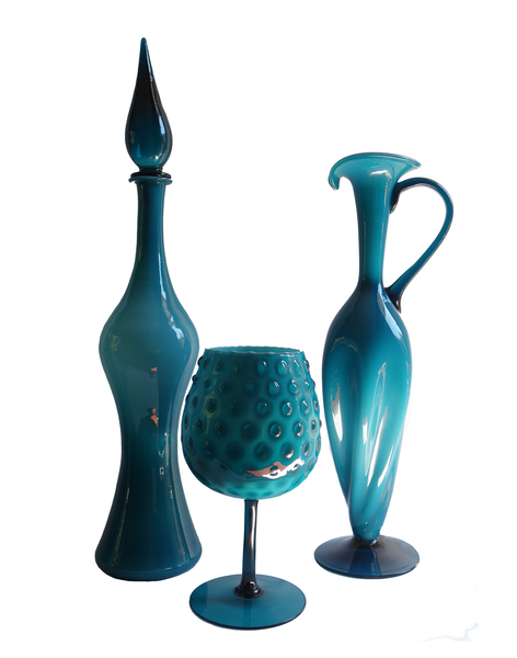 Teal Empoli Floor Decanter