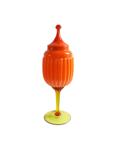 Empoli Orange Apothecary Caged Urn Lidded Jar