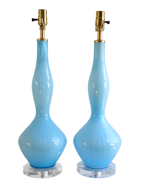Empoli cased glass blue genie bottle lamps