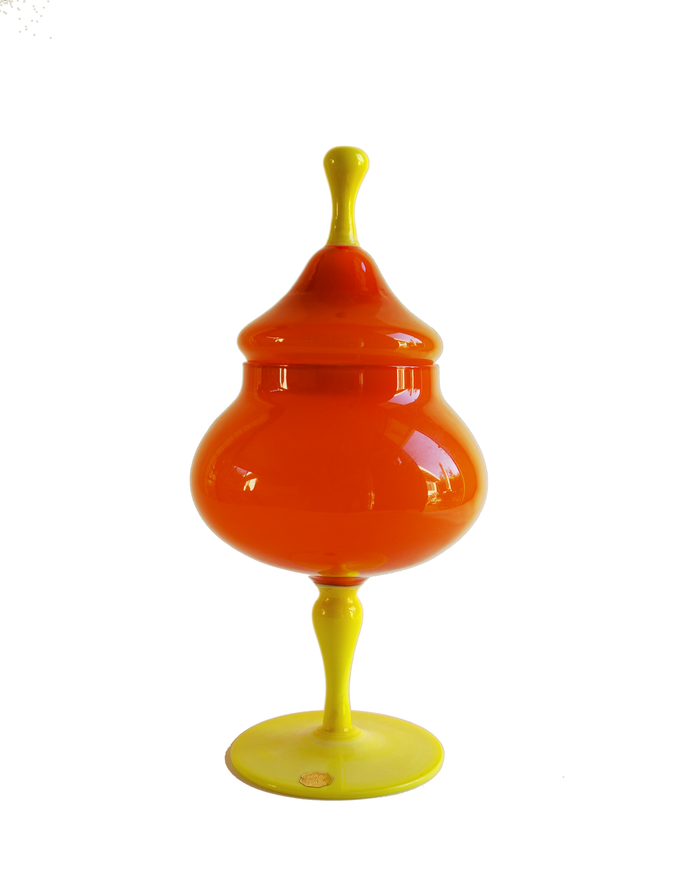Empoli Orange Two-Tone Lidded Apothecary