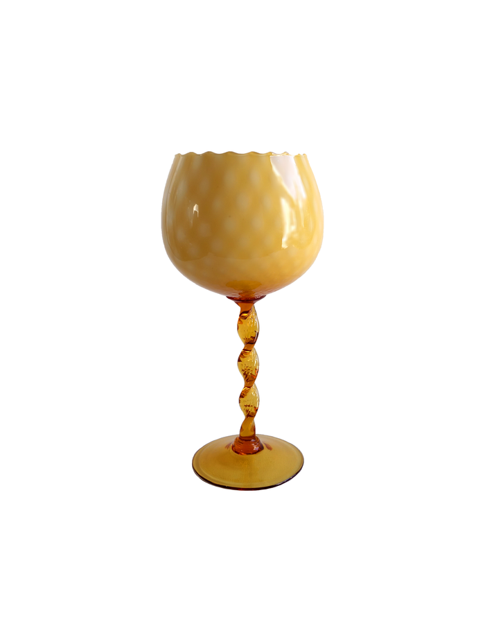 Empoli Amber Twisted Stem Quilted Goblet