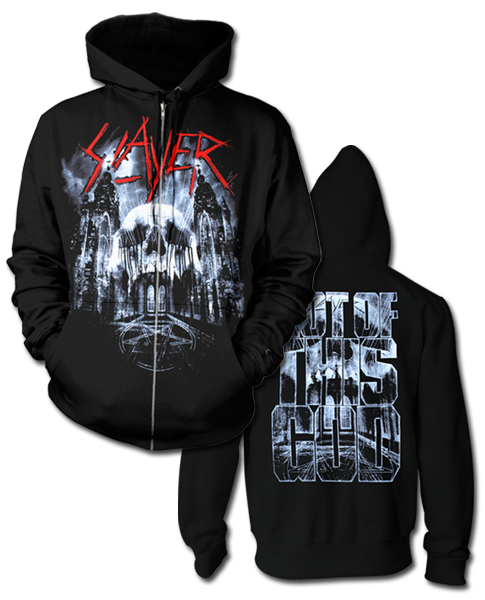 CATHEDRAL SKULL ZIP HOODIE WITH EARBUDS - X-Large