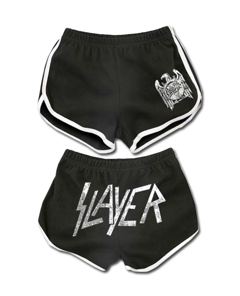 SLAYER DISTRESSED LOGO RUNNING SHORTS - X-Large