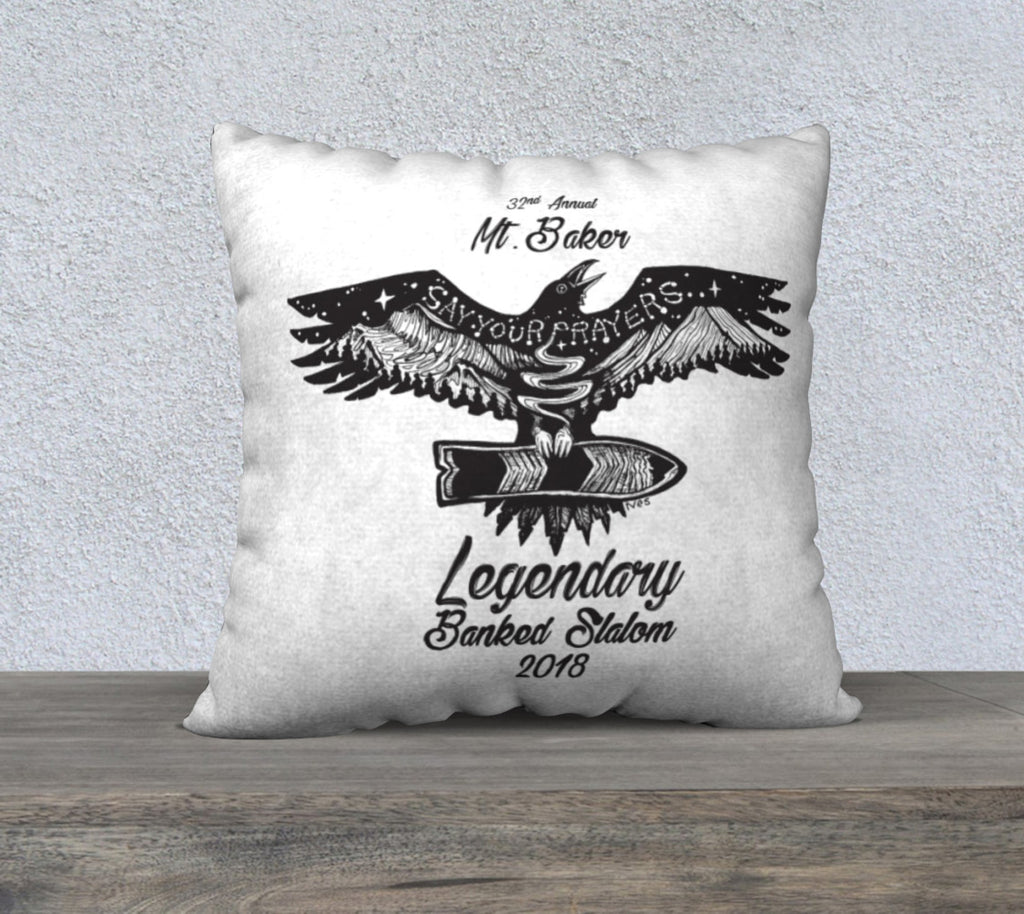 "Mt. Baker LBS B&W Raven Pillow Case 18"" by 18"""