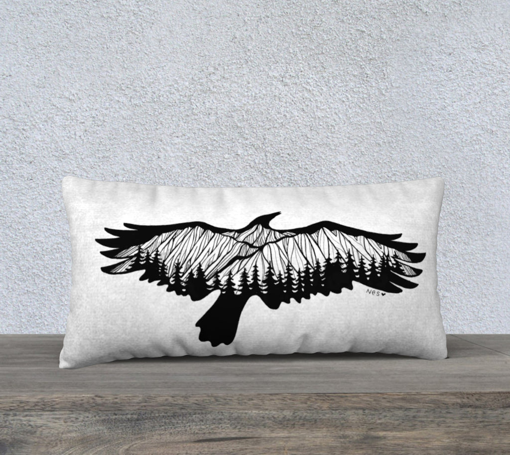 "Mountain Crow 12"" by 24"" pillow case"