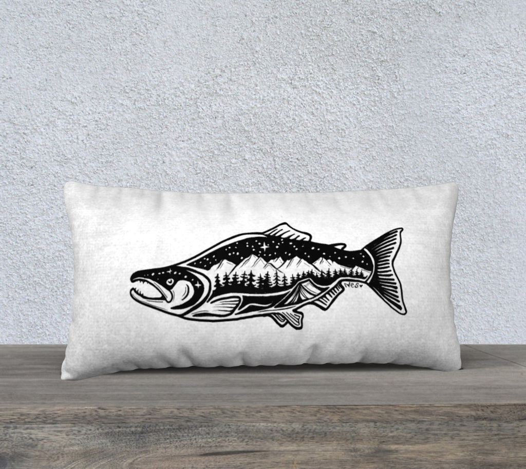 "Simple Life Sockeye 12"" by 24"" pillow case"