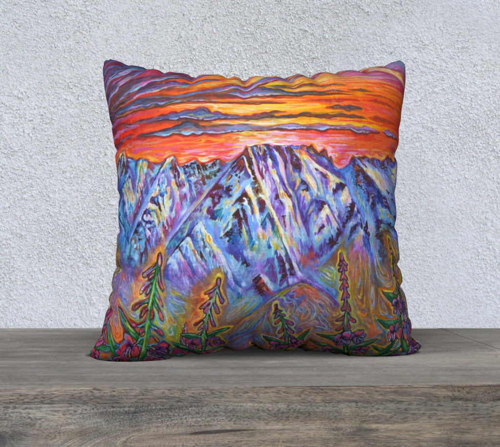 "Fire and Ice Mt. Currie Pillow Case ""18"" by 18"""