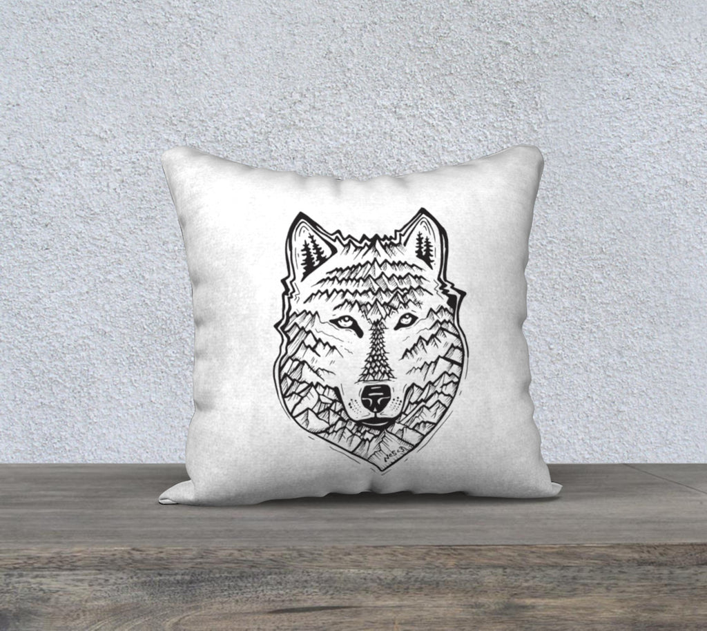 "Mountain Wolf Pillow case ""18"" by 18"""