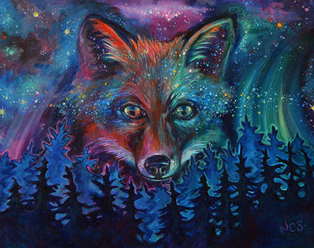 Cosmic Fire Fox on Canvas