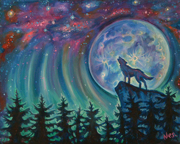 Sing to the Moon on canvas