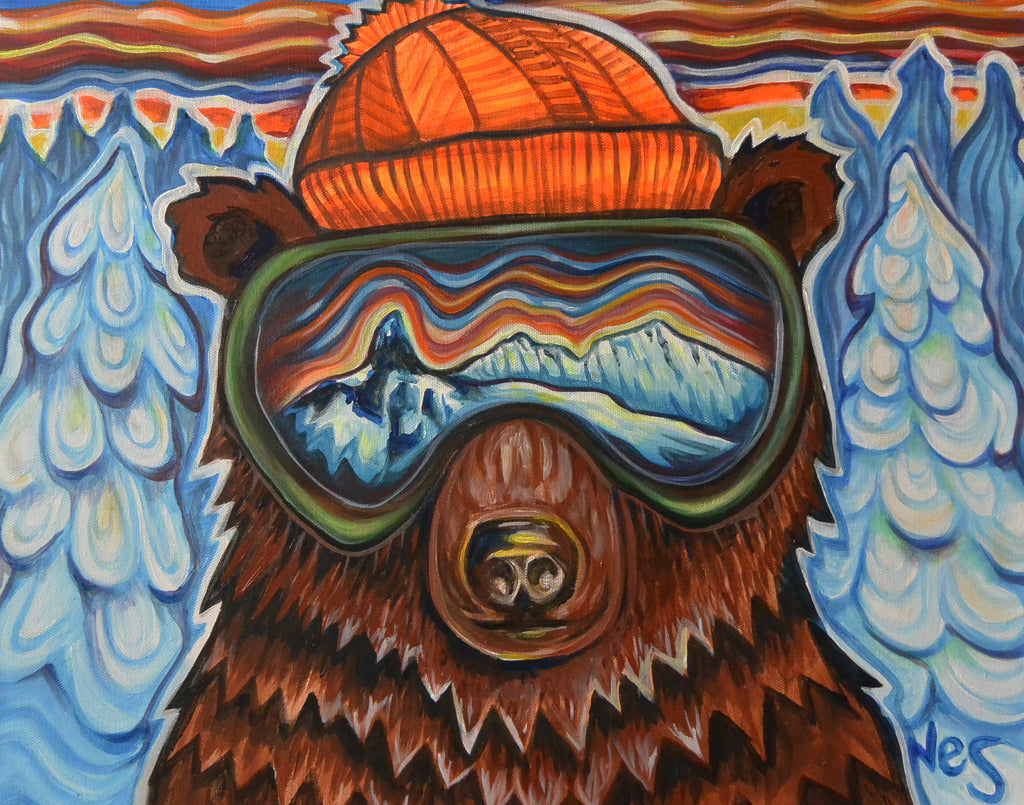 Whistler Pow Bear on Canvas