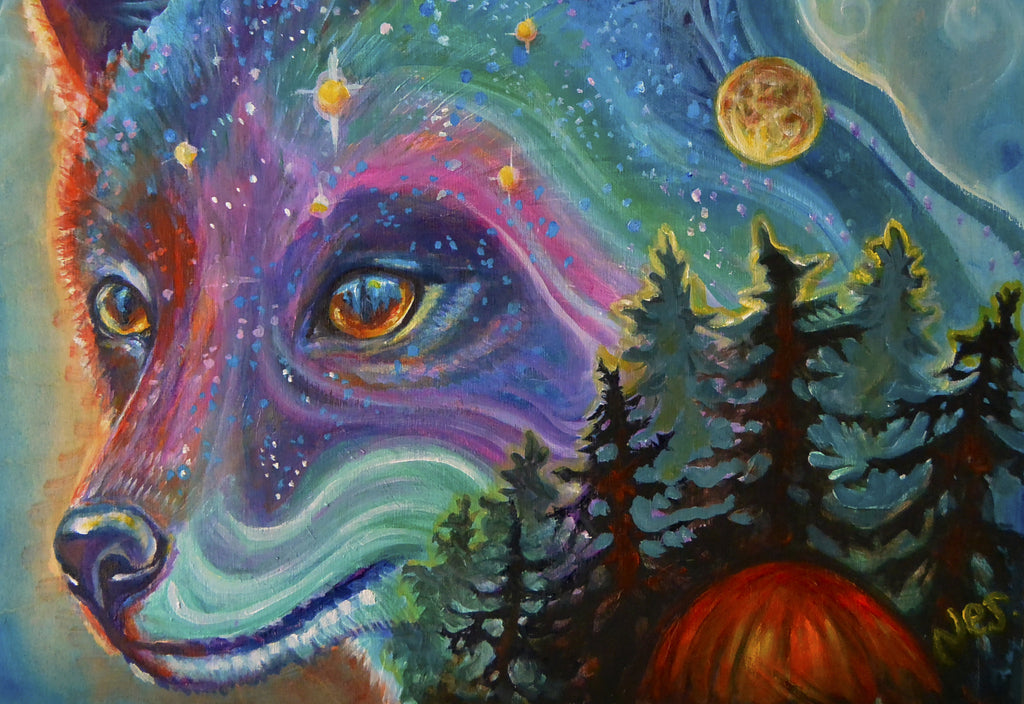 Night Fox on canvas