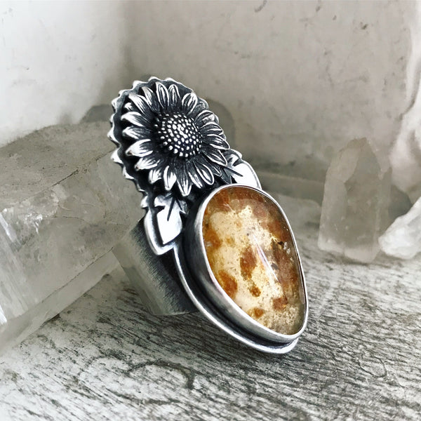 Amber (with insect!) Sunflower Fields Ring - Size 7 3/4