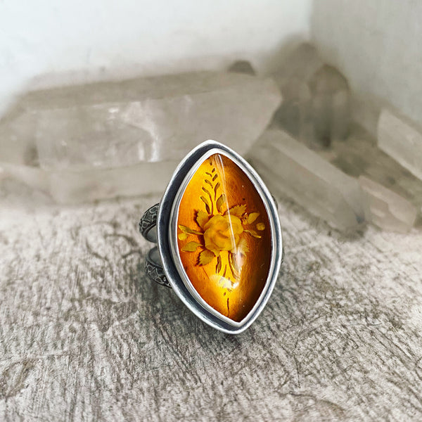 Fire Blossom Ring ✦ Size just under 9 1/2 ✦ Bealtaine Collection