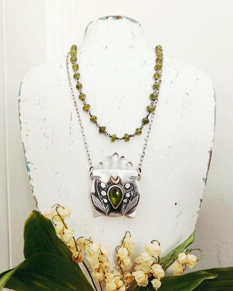 Large Clear Quartz & Vesuvianite Witch's Cauldron Pendant - 18 Inches - Lily of the Valley Collection