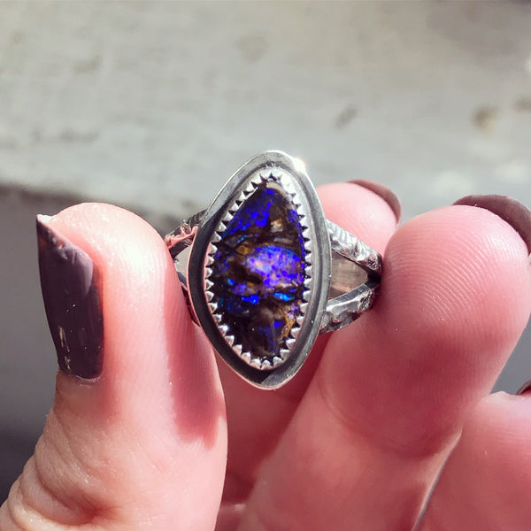 Australian Opal Woods Witch Ring - Size 7