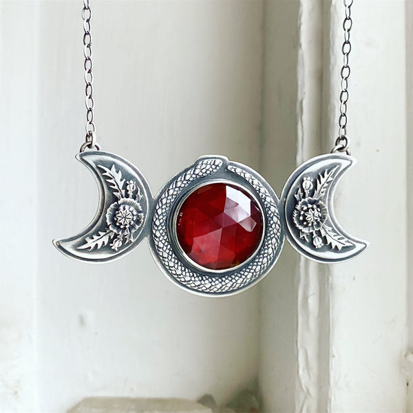 Persephone Triple Moon Pendant ✦ 18 Inches ✦ Descent of Persephone Collection, Vol. VI