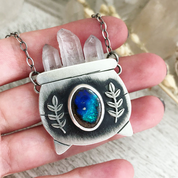 Large Australian Opal Witch's Cauldron Pendant - 18 3/4 Inches