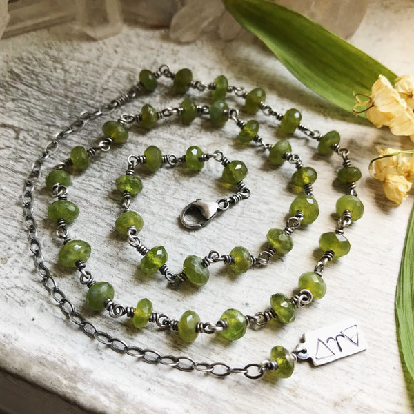 MADE TO ORDER Vesuvianite Protection Beads - Adjustable from 16 to 20 Inches - Lily of the Valley Collection