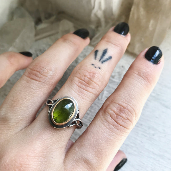 Vesuvianite Stacking Ring - Size just under 8 1/2 - Lily of the Valley Collection
