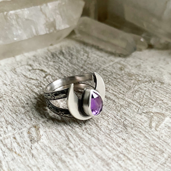 Amethyst Crowning Moon Ring ✦ Size 5 ✦ Retrospective Collection