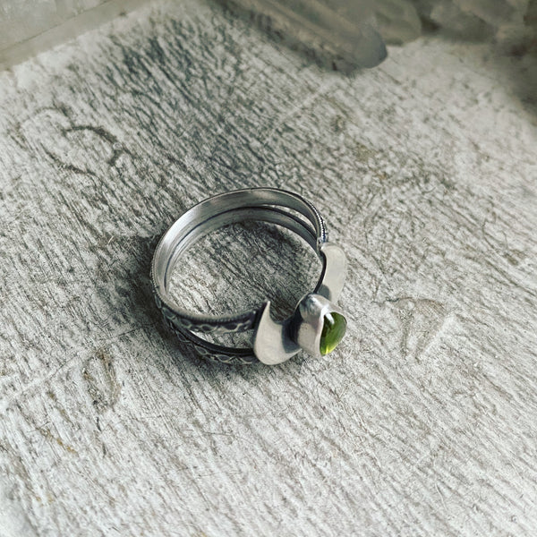 Vesuvianite Crowning Moon Ring ✦ Size 9 ✦ Retrospective Collection